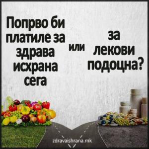 Попрво би платиле за здрава исхрана сега или за лекови подоцна?