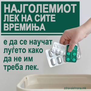 Најголемиот лек на сите времиња е да се научат луѓето како да не им треба лек