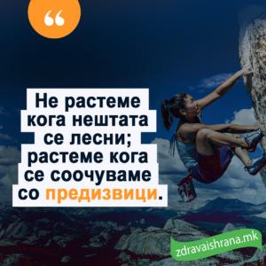 Не растеме кога нештата се лесни; растеме кога се соочуваме со предизвици